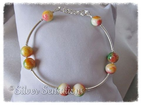 Multi Coloured Jade (Red, Green Yellow Orange & White) & Sterling Silver Bracelet